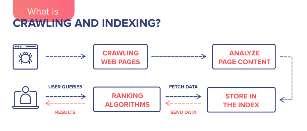 Crawling, indexing and ranking of a web page