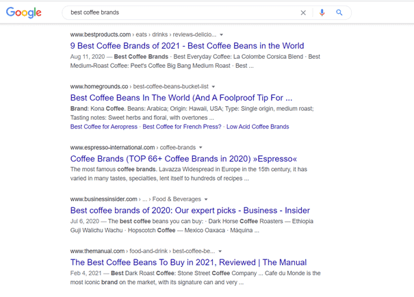 An example SERP