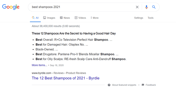 Featured Snippets in list form