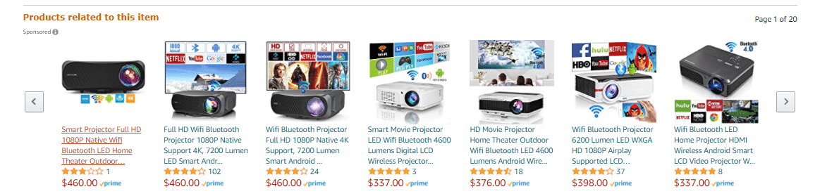Related products section of a product page