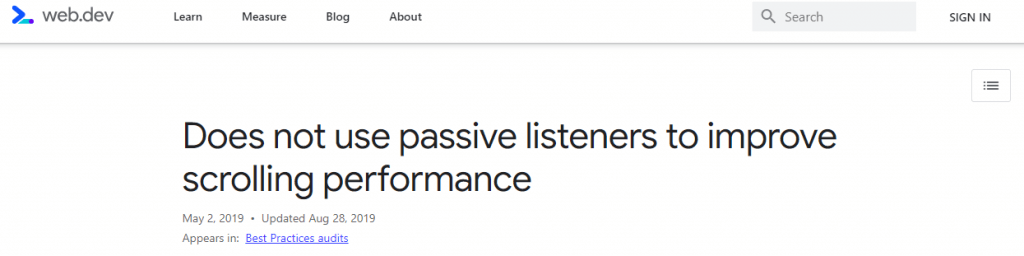 What Does ''Does not use passive listeners to improve scrolling performance'' Mean?
