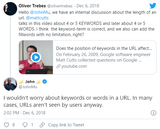 Mueller Tweet in 2018 About Ranking and SEO-friendly URL structures