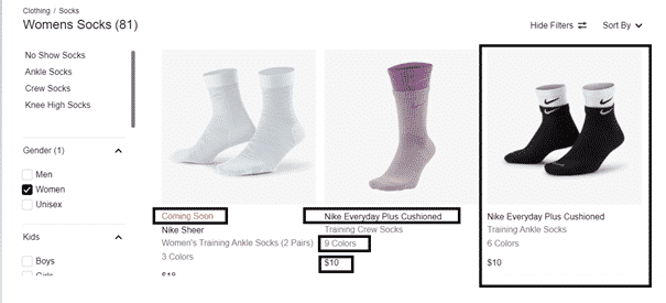 Product listing model in Nike's socks category