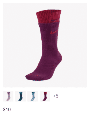 Product listing model in Nike's socks category - 2