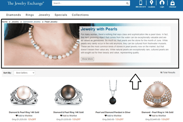 Featured Content in Category Pages of eCommerce Sites - Jewelry Exchange