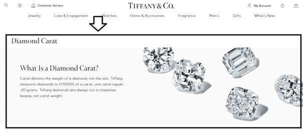 Featured Content in Category Pages of eCommerce Sites - Tıffany & Co