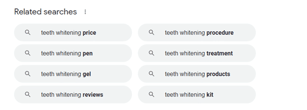 Related searches for exploring search intent