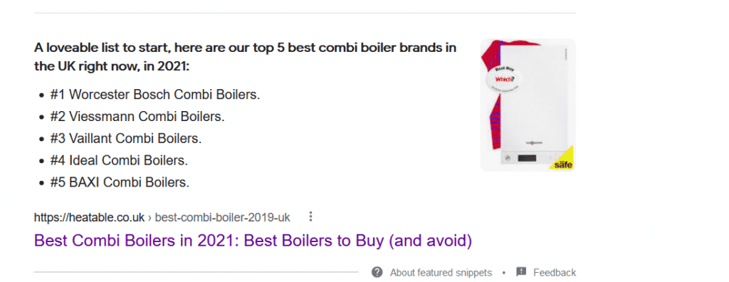 Numbered Featured Snippet